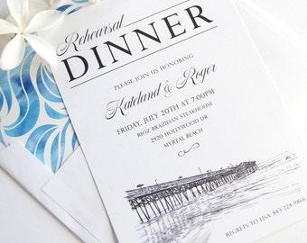 Myrtle Beach Skyline Weddings Rehearsal Dinner Invitations (set of 25 cards)