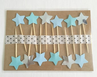 12 blue/aqua/metallic silver cupcake toppers party decoration