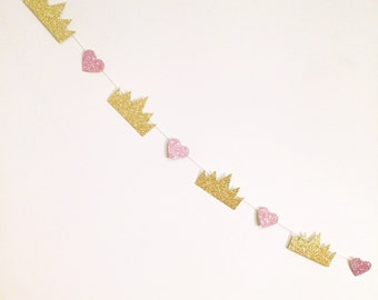 Mini hearts and crowns garland - 1 meter