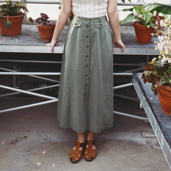 khaki green high waisted maxi skirt