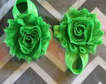 Barefoot Baby Sandals, Bright Green Barefoot Baby Sandals, Newborn Barefoot Sandals, Flower Sandals, Toddler Sandals, READY TO SHIP