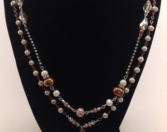 Repurposed Vintage Assemblage Two Strand Rosary Necklace