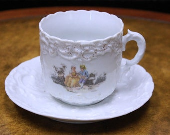German Mustache Cup and Saucer
