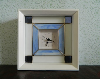 Blue And White Stained Glass Clock