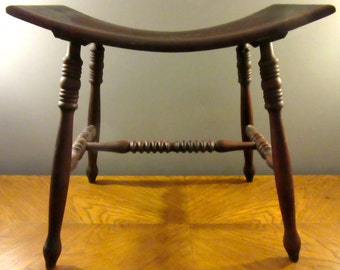 Antique English Fireside Bench / Wooden Bench / Antique Stool / Wood / Dark Cherry / Curved Seat / Sturdy Bench / Accent Piece / Bedroom