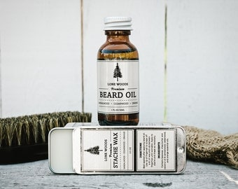 BEARD KIT: Premium Beard Oil and Moustache Wax Kit (Sandalwood, Cedarwood, Orange Scent) - Moustache and Beard Care Made in Canada