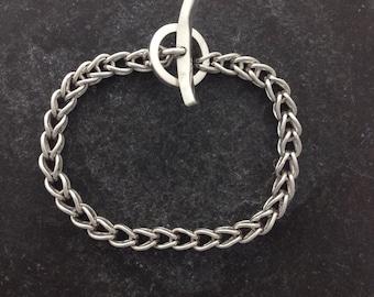 Fine silver loop in loop bracelet