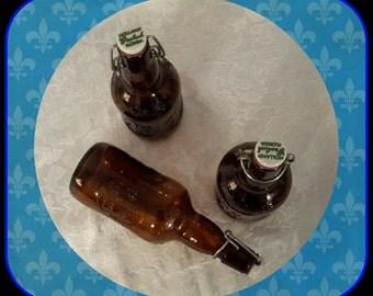 Vintage Grolsch Beer Bottles, Beer Bottles with Porcelain Caps, Amber Beer Bottles, Barware, Gift Giving