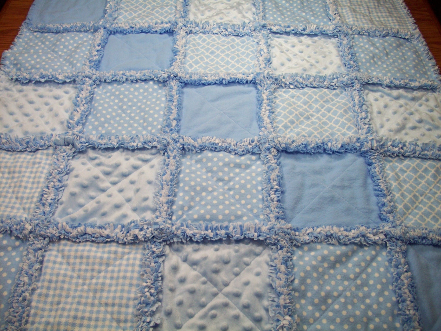 Baby Rag Quilts Blue Baby Quilt Minky Rag Quilt Boys Baby