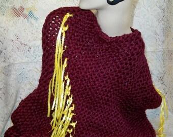 SALE! Chunky Knit Ribbon Poncho Hometown USA Napa Valley Pinot Yarn Handmade