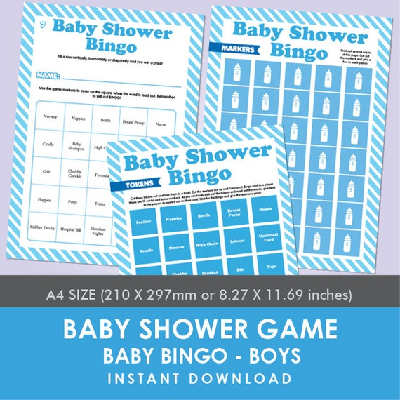 printable baby shower game baby bingo boys