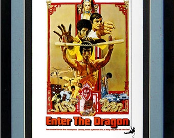 Bruce Lee Poster Enter the Dragon Framed Movie Poster Print 15x20