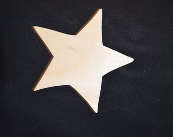 Handcrafted Unfinished Wooden Star Cutout