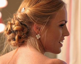 sale- 45% off  Flower Earrings,  Sterling Silver Earrings. Bridal Earrings. Romantic Gifts For Her. Handmade Earrings.