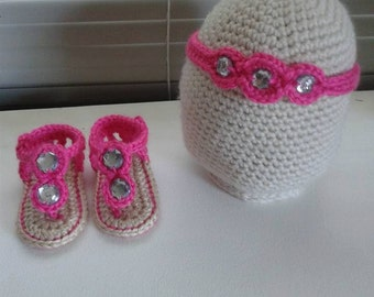 Gem Sandals and Matching Headband Set