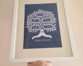 Family Tree - Personalised Handcut Papercut - Framed or Unframed