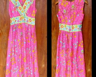 Vintage 1960's Hot Pink Flowered Maxi Dress, Empire Waist with V Neck.  Flower Child Hippie Dress.