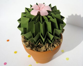 Cactus Pot Paper Decor In Emerald Green Baby Pink Flower 1st Anniversary Gift