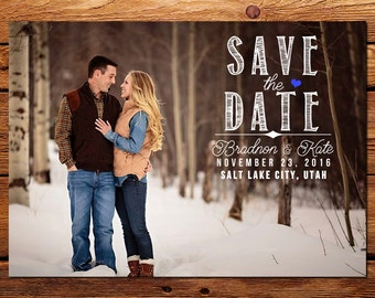 Save-the-Date Announcement, Custom Wedding Photo Card Printable \\ Chalkboard