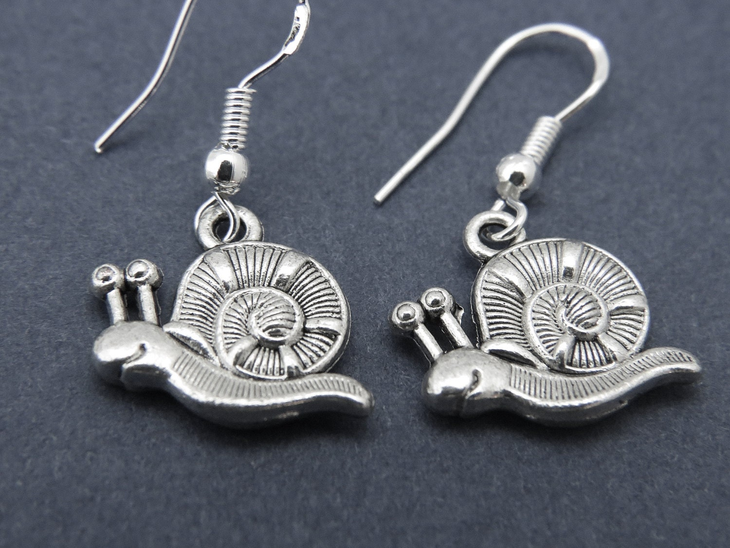 snail earrings snail charm snail pendant by lebuajewelry