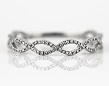 0.18ct Pavé Diamond in 14K White Gold Stackable Maquise Link Braided Band Ring - CUSTOM MADE