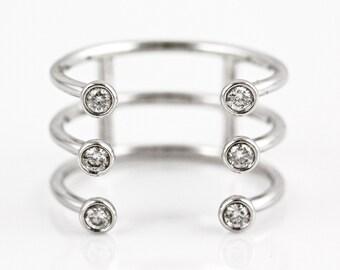 0.23ct Bezel Diamond in 14K White Gold Triple Band Cuff Statement Ring