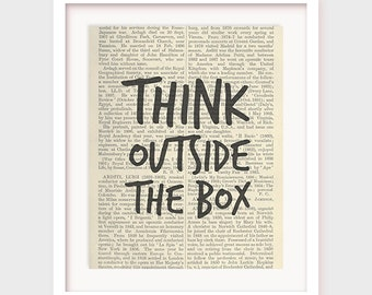 Downloadable Art, Think Outside The Box, Printable Artwork Decor, Quote Print, Motivational Office Art, Inspirational Instant Download