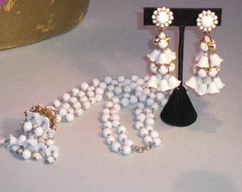 Collar (72) and earrings, bells of lily of the Valley, to 1950's
