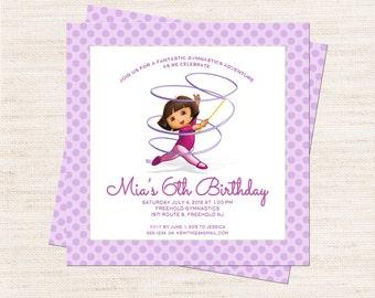 Dora Gymnastics Birthday Party Invitation   Dora Gymnastics Party Invitation Printable   Girl Birthday   Gracie Lee Design