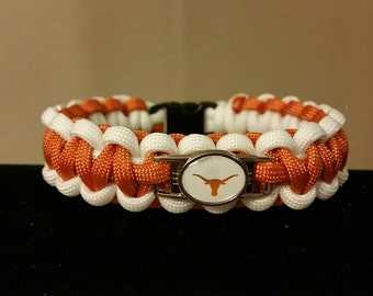 University of Texas Paracord Bracelet w/ Charm, Burnt Orange and White Paracord Bracelet, UT, Longhorns