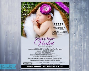 Movie Poster Birth Announcement - MOVIE POSTERS - Customizable, printable, jpg/pdf file