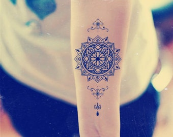 Mandala Temporary Tattoo  Ethnic Art  Mandala Art  Large Temporary Tattoo Tattoo Temporary Buddhism Black  Geometric Temporary Tattoo Art