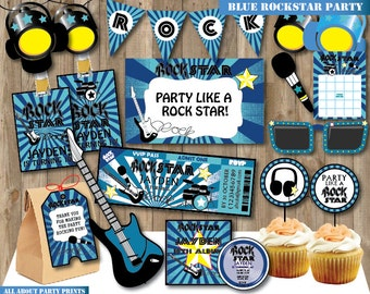 PDF format-Instant Download- Blue Rocking star birthday pack printable -Kid complete birthday party pack-for personal use only