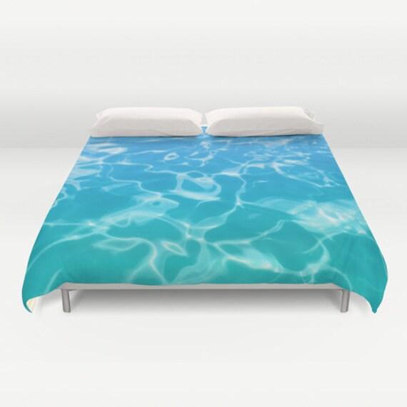Water Duvet Cover With Blue Teal Aqua Water Bedding Ocean