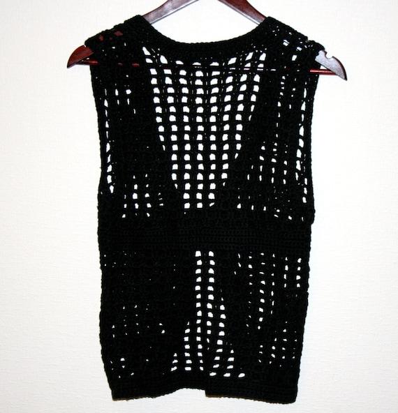 schwarzen crochet damen weste perlen h keln weste goth gypsy. Black Bedroom Furniture Sets. Home Design Ideas