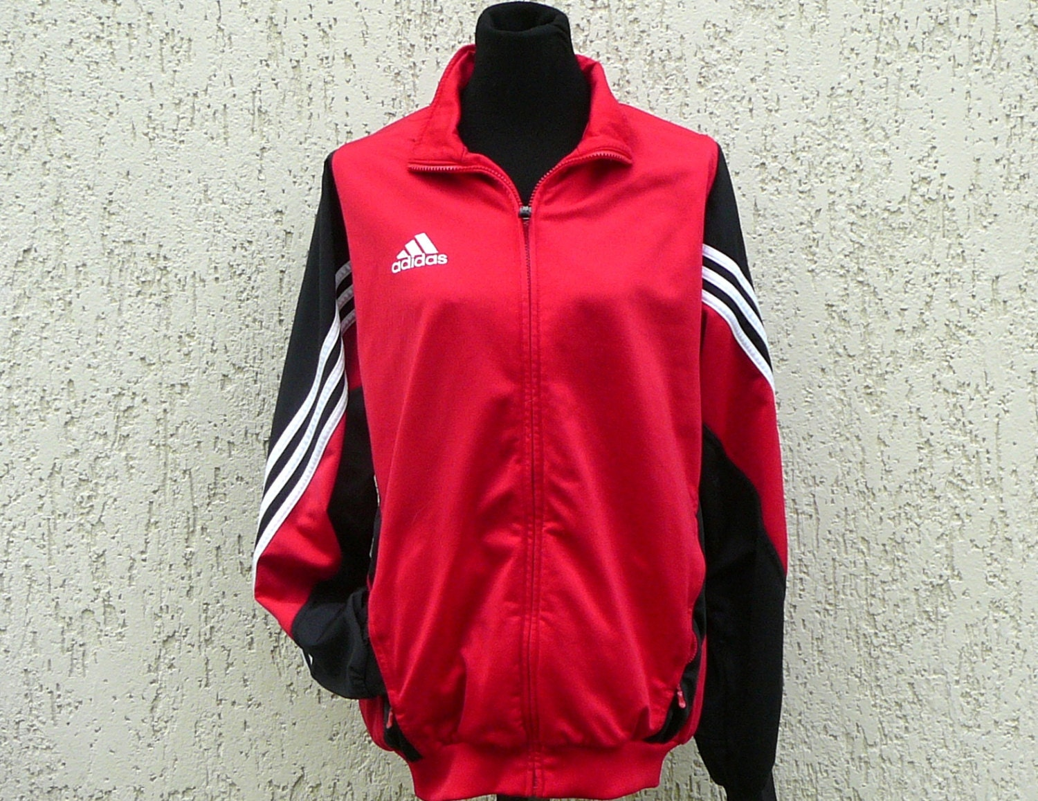 red and black adidas jacket