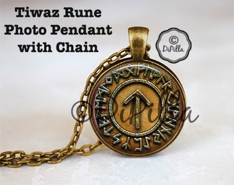 Tiwaz Rune The Norse God TYR Photo Pendant set in Bronze with Matching Chain