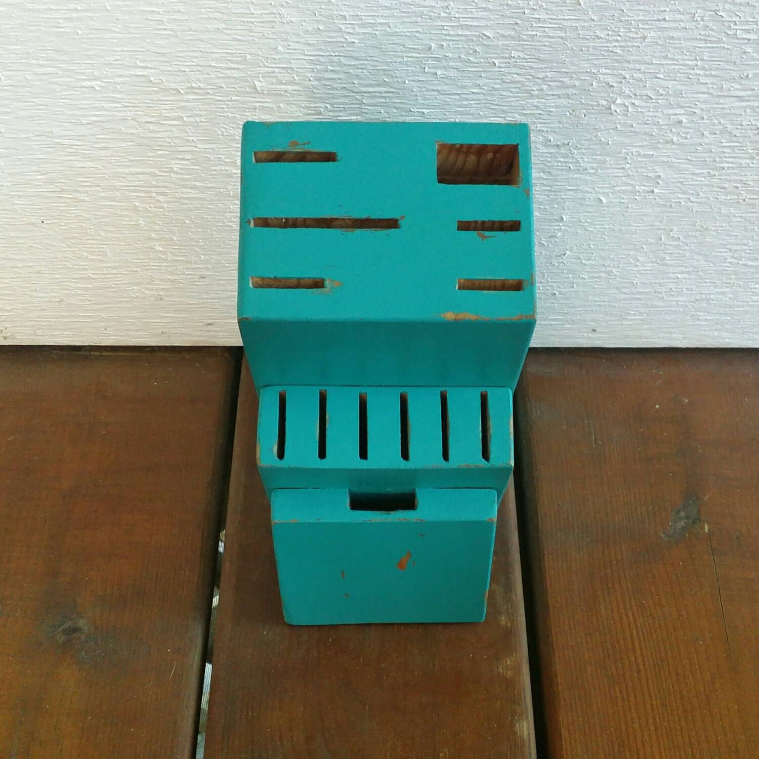 Painted Knife Block: Large Knife Block Painted Aqua And Hand By BrittsDiverseStyle