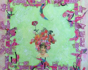 """Mixed Media Collage Art """"Girl with Flowered Hair"""""""