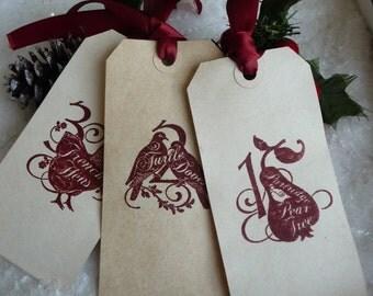 12 Handmade vintage Twelve Days of Christmas Gift Tags red