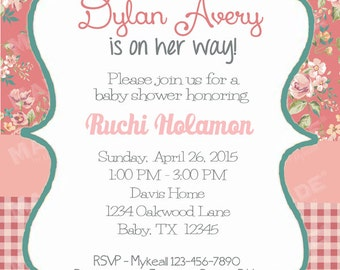 Personalized Vintage Floral #10 Baby Shower Invite, Girl Baby Shower, Boy Baby Shower, Party, Printable file or Printed