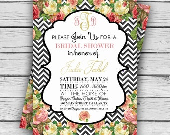MONOGRAM Roses WEDDING SHOWER Invitation, Wedding Shower, Personalized Shower Invite, Tie the Knot, Digital file, Printable file