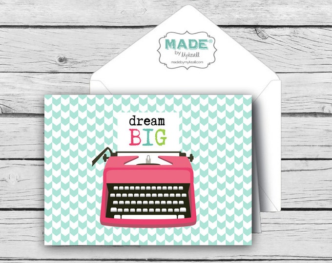 DREAM BIG Vintage Typewriter Note Card Set, Motivational Cards, Positive Inspiration, Printed Thank You Cards, Stationery, Younique