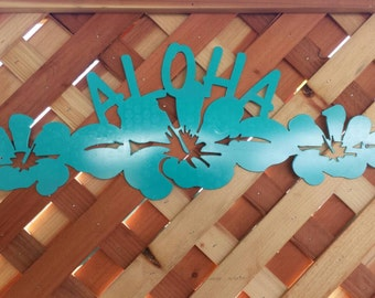 Aloha sign, Aloha sign with flowers, Hawaiian Aloha decoration