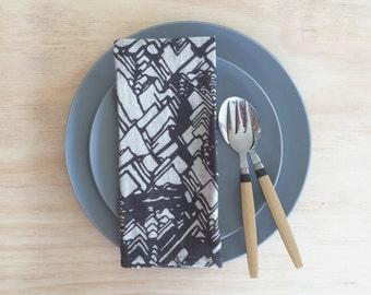 "LINEN NAPKINS SET of 4 Geometric Print Limited Edition Belgian Linen Napkins ""Conidae"" Design"