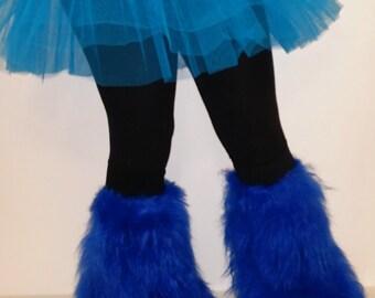 Blue Furry Fluffy Leg warmer Boot Cover & Basic Tutu Skirt Party Clubbing