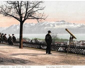 Men with a Telescope, Lausanne, Les Alps de Savoie, Vue Prise Depuis Montbenon, Circa 1910 Unused Postcard, Switzerland