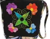 Cross Body Tote Bag - Cross Body Purse - Messenger Bag with Applique
