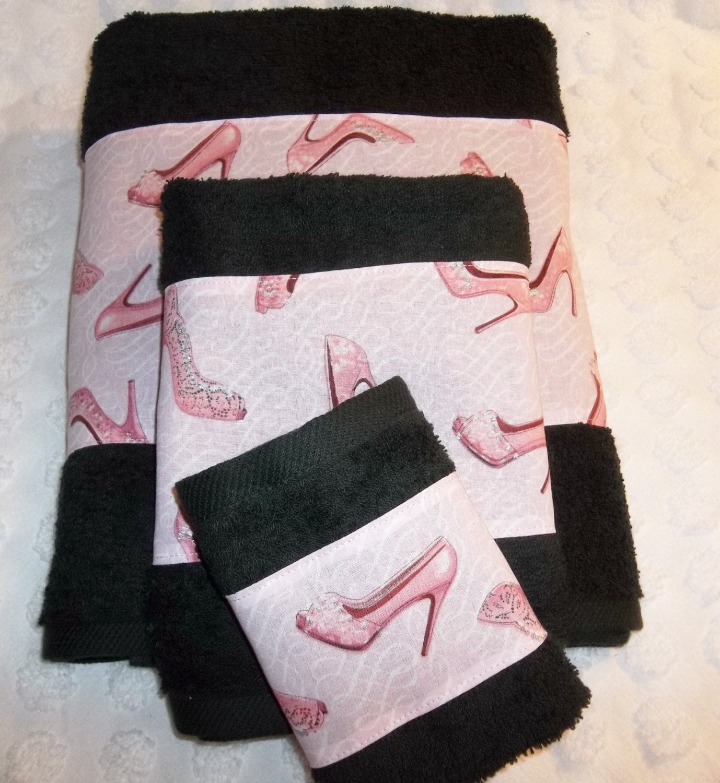 Black And Pink Bling Sparkles High Heels Shoes Diva Bath Towel