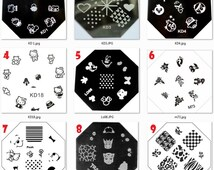 Stamping Nail Art Image Plates Octagon Flower Animals Lace Hello kitty snoopy snow white transformers snowflake prints patterns designs